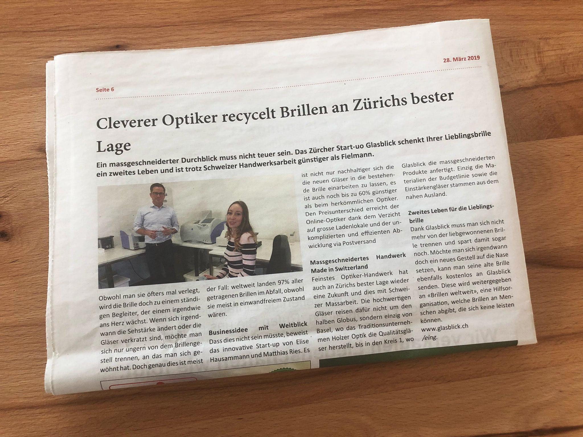 Glasblick in der Zeitung